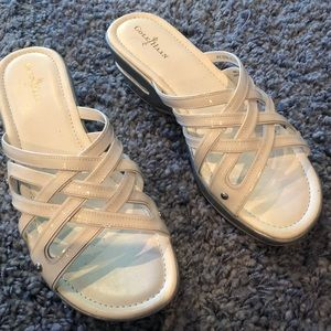 Cole Haan white patent leather sandals. Size 8
